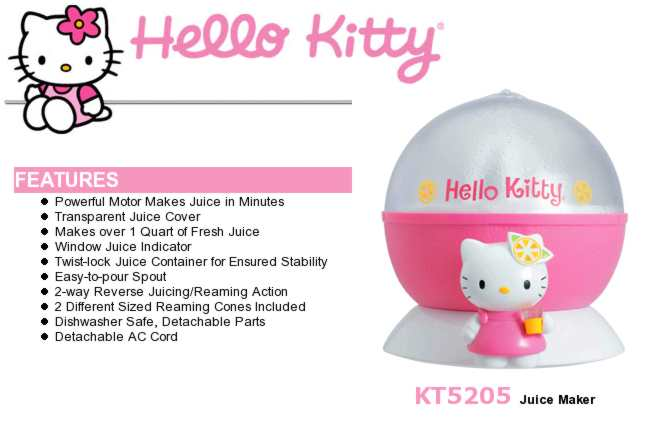 Picture of Hello Kitty Juicer and product information.
